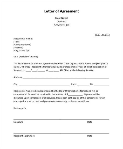 10 Simple Agreement Letter Exles Pdf Simple Fee Agreement Template