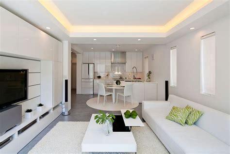 Outstanding kitchen living room design beige rounded rug