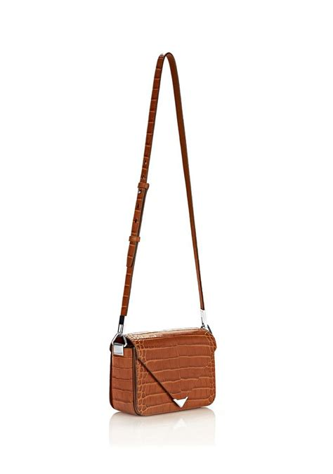 Timber One Shoulder Top prisma envelope sling in embossed timber with rhodium