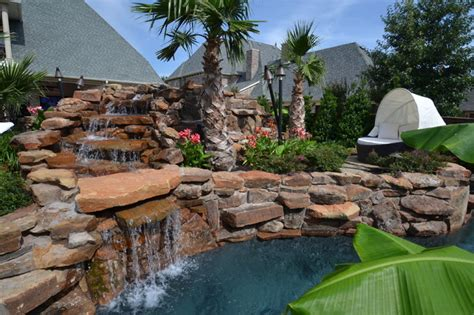 Colleyville Residential Lazy River Tropical Landscape