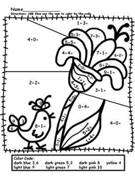 easy addition coloring page free simple addition color by numbers worksheets