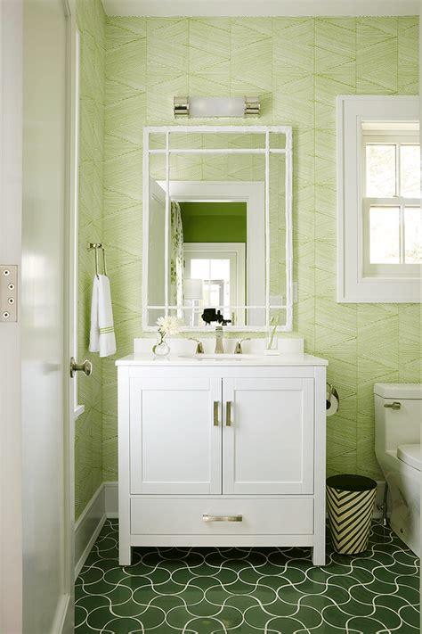 White And Green Bathroom With Green Wavy Tiles White And Green Bathroom Ideas