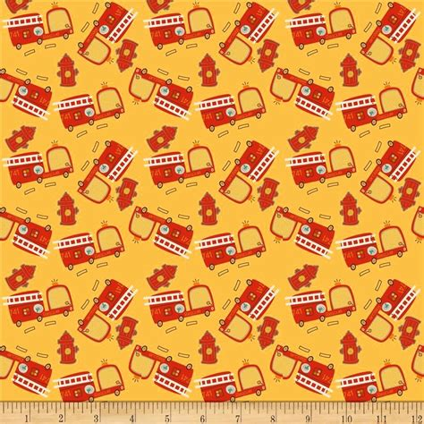 Fireman Quilt Fabric by Cotton Quilt Fabric On Our Way Firetrucks