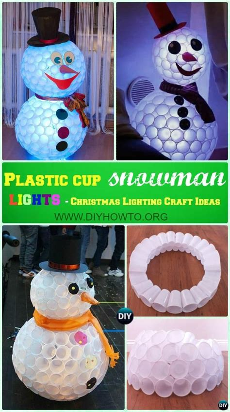 how to mske christmas ornaments with plastic cups 10 unique diy outdoor lighting craft ideas plastic cup snowman diy lights