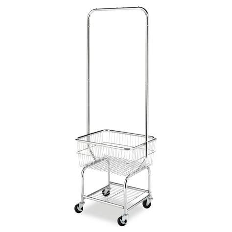 whitmor metal wire wheeled laundry basketgarment hanger