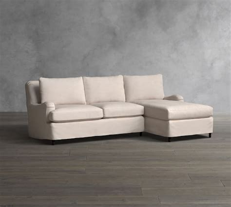 carlisle slipcovered sofa with chaise sectional pottery barn