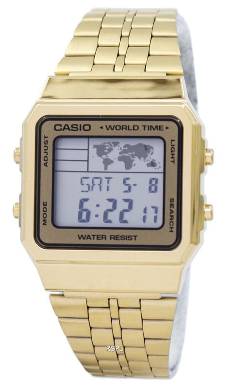 Casio Digital A500wga 9 Original Gold casio alarm world time digital a500wga 9df s