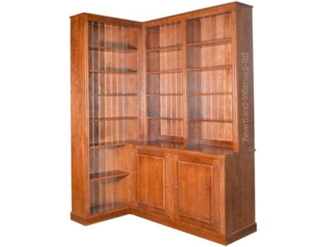 Bookcase Corner Unit Solid Oak Bookcase 230cm Handcrafted Corner Display Unit With Cupboards Ebay