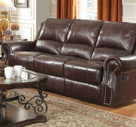 Brown Leather Reclining Sofa by Coaster 650161 Brown Leather Reclining Sofa A Sofa