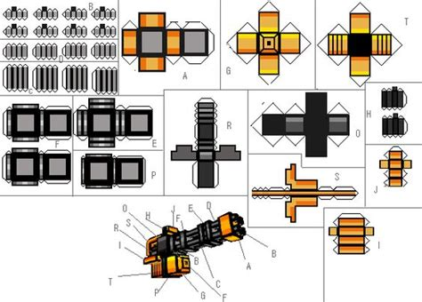 Papercraft Guns Templates - papercraft automatic peachmaker m2 pixel gun 3d