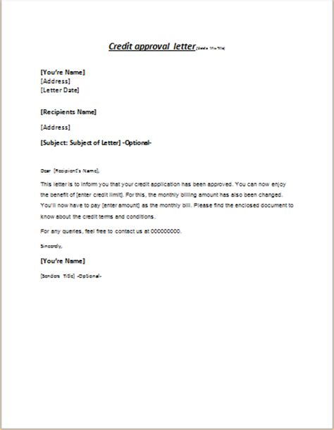 Letter Of Credit Acceptance Fee Credit Approval Letter To Client Writeletter2