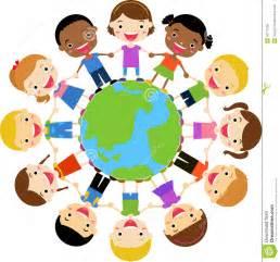 Dove Barn Happy Children Holding Hands Around The Globe Stock