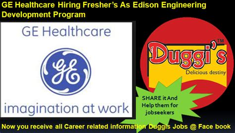 Ge Healthcare Mba Opportuntities by Duggis Ge Healthcare Hiring Freshers As Edison
