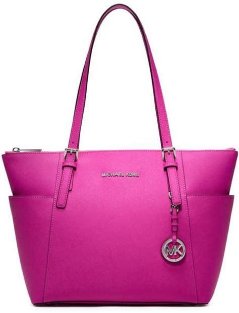 Michael Kors Pink Fuschia michael kors jet set fuschia sml ew zip top tote bag in pink lyst