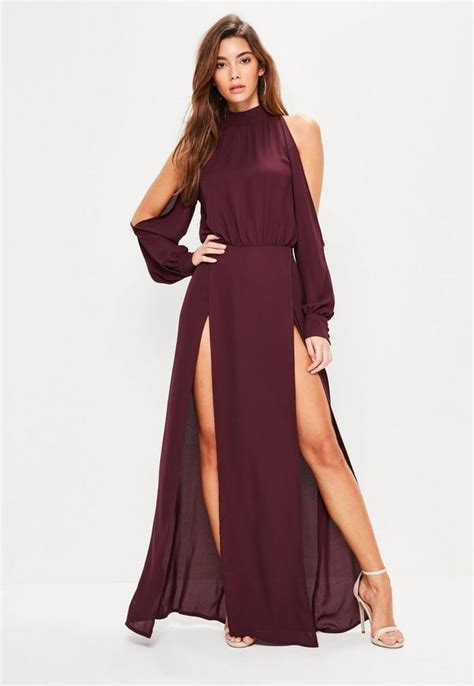 Maxi Dress Dasera burgundy split front and sleeve maxi dress missguided