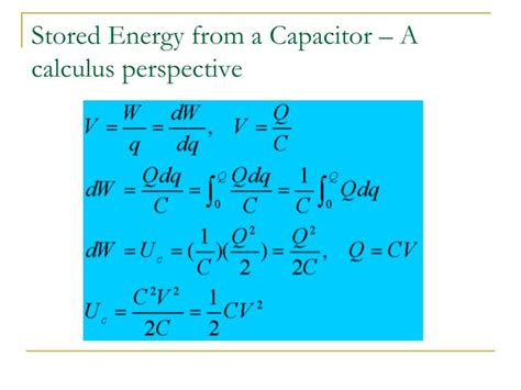 capacitor stored energy equation ppt capacitance and dielectrics powerpoint presentation id 1854318