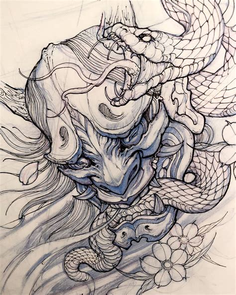 tattoo oriental drawing hanya mask sketch by davidhoangtattoo sketches
