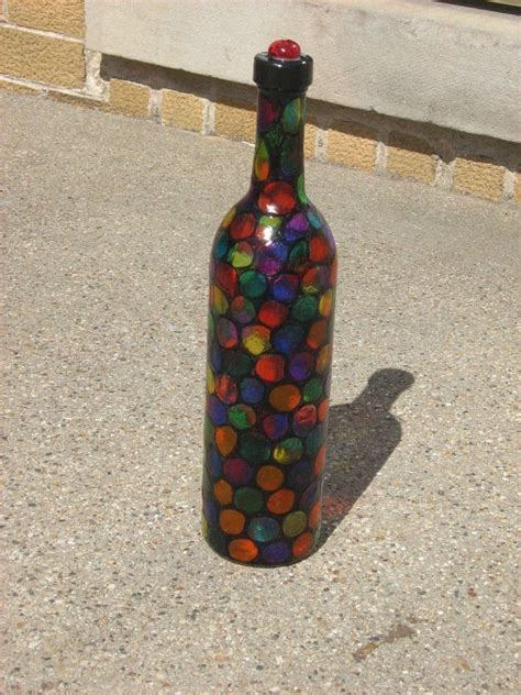 faux stained glass altered bottle  storage bottle art