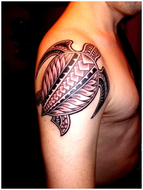 turtle tattoos for men polynesian turtle on right shoulder