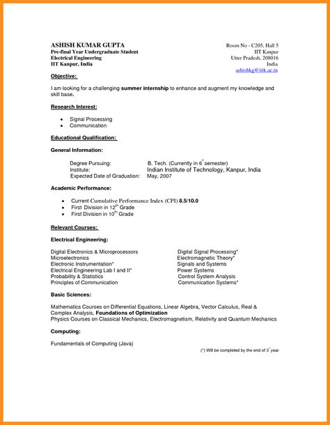 Curriculum Vitae Sample Format For Students by Resume Example For Undergraduate Student Resume Ixiplay