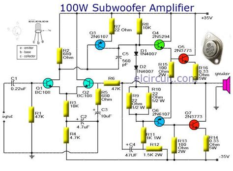 transistor lifier output voltage subwoofer lifier 100w output with transistor audio schematic circuit diagram