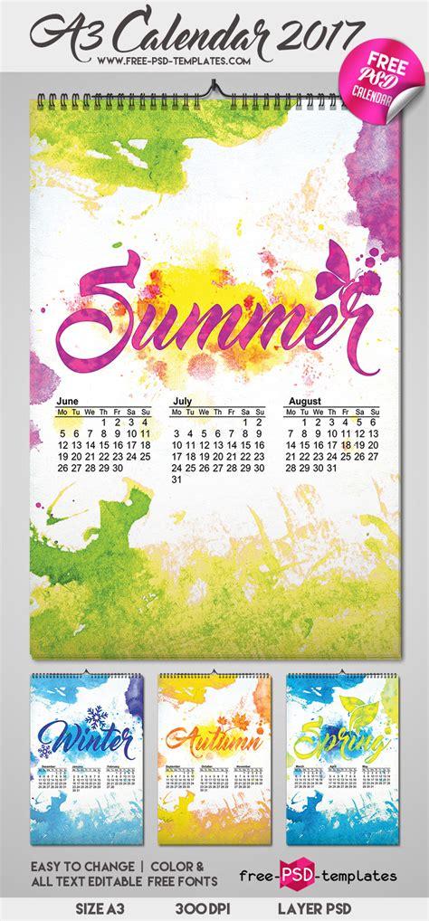 Calendar 2018 Psd File Free A3 Calendar 2017 Free Psd Templates