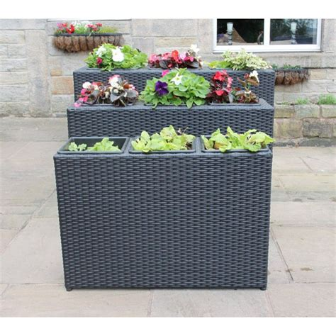 Black Rattan Planters by Set Of 3 Rattan 3 Box Planters Flower Pots Garden