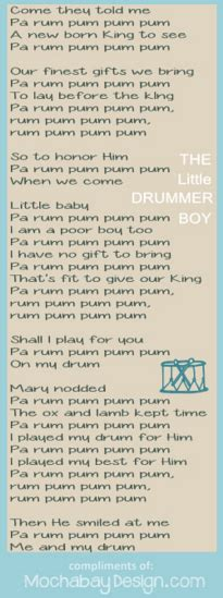 printable lyrics for the little drummer boy print drummer boy christmas song lyrics bookmark