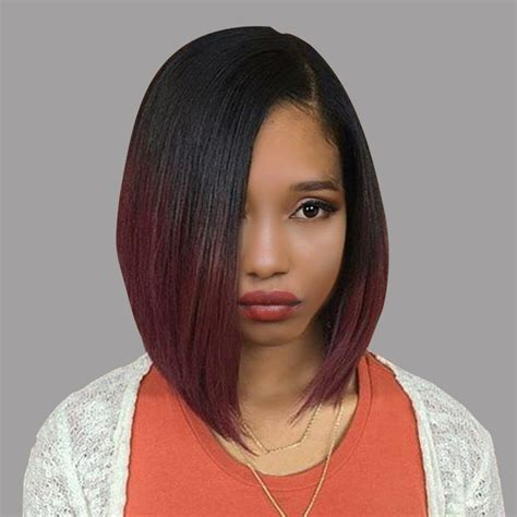 wigs short on one side long on the other black wine red short side part straight bob ombre
