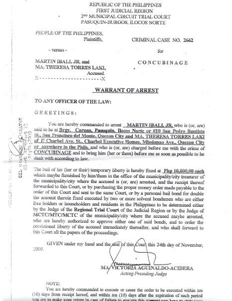 bench warrant of arrest philippines fine arrest warrant template pictures inspiration