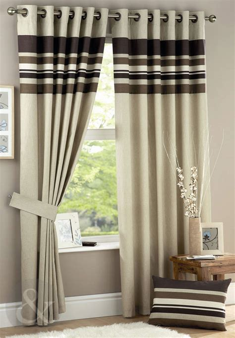 cream and chocolate curtains striped curtains chocolate brown cream eyelet fully