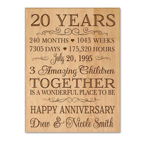 unique wedding anniversary experience gifts at into the blue personalized 20th anniversary gift for him 20 year wedding