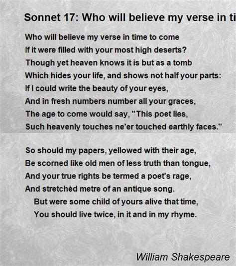 the complete poems of shakespeare longman annotated poets books sonnet 17 who will believe my verse in time to come poem