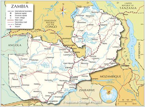 zambia map sambia geographischen karte
