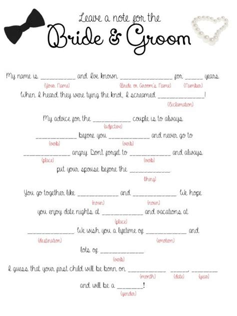Wedding Mad Libs by Wedding Mad Lib Printable Leave A Note For The