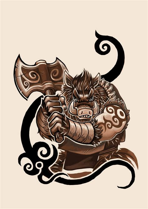 boar tattoo design by k hots on deviantart