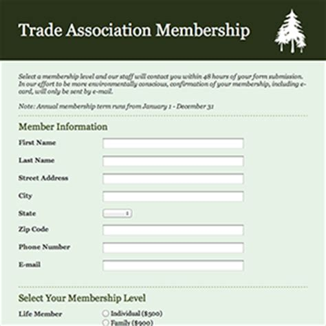formcentral template exchange trade association membership