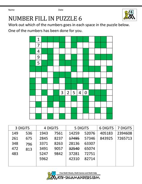 Puzzle Number number fill in puzzles
