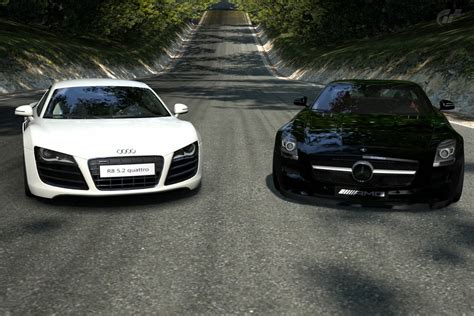 Audi Sls by Audi R8 V10 With Mercedes Sls Amg 8 By Iby786x On Deviantart
