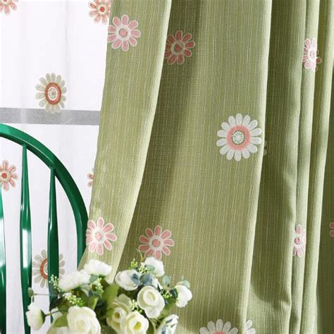 green burlap curtains green floral embroidery burlap country curtains for