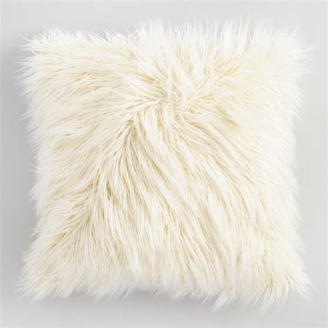 faux fur decorative pillows ivory mongolian faux fur throw pillow world market