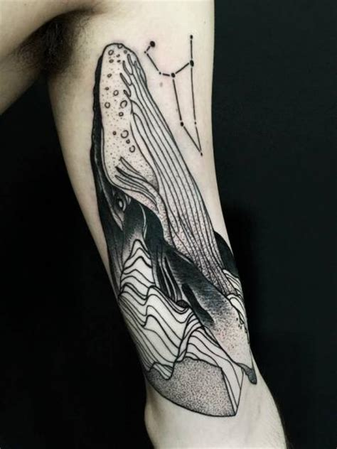 arm dotwork whale tattoo by michele zingales