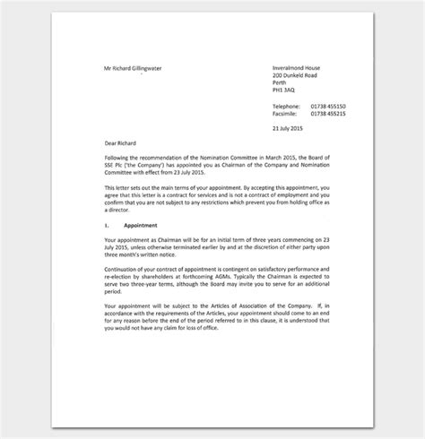 appointment letter renewal business appointment letter 20 sles exles formats
