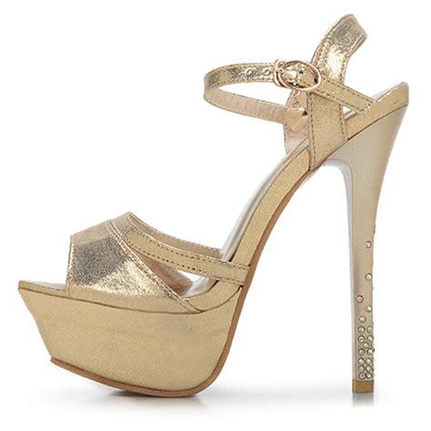 cheap gold high heel shoes cheap fashion peep toe rhinestone embellished platform