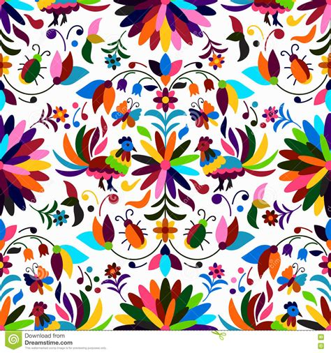 mexican pattern vector art otomi style seamless pattern stock vector illustration