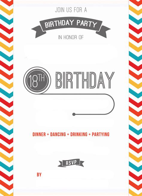 free printable 18th birthday invitation template drevio