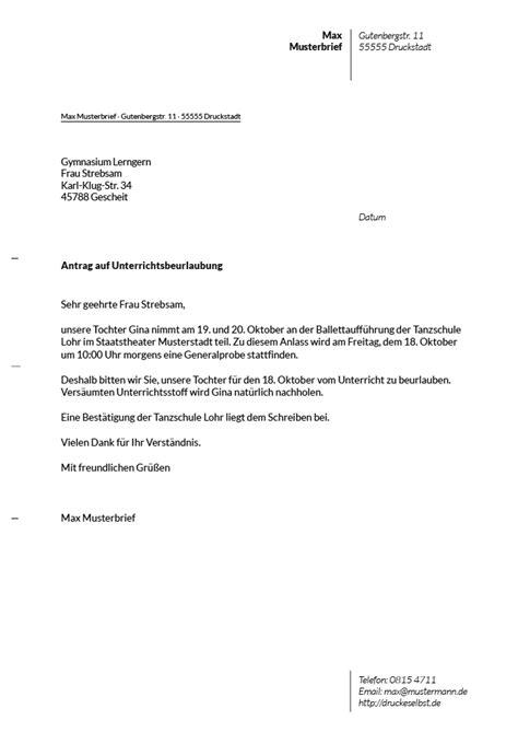 Vorlage Antrag Beurlaubung Schule Beurlaubung Der Vorlage