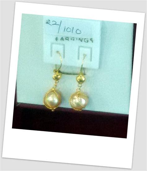 handmade gold earring with south sea pearl etr 019 harga mutiara lombok perhiasan toko emas
