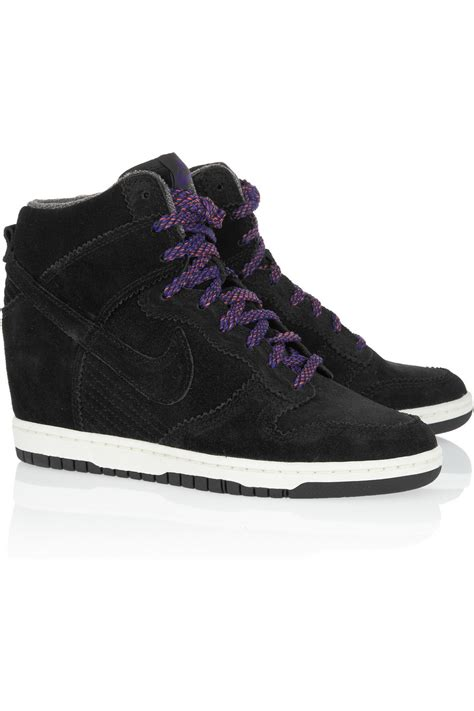 lyst nike dunk sky hi suede wedge sneakers in black