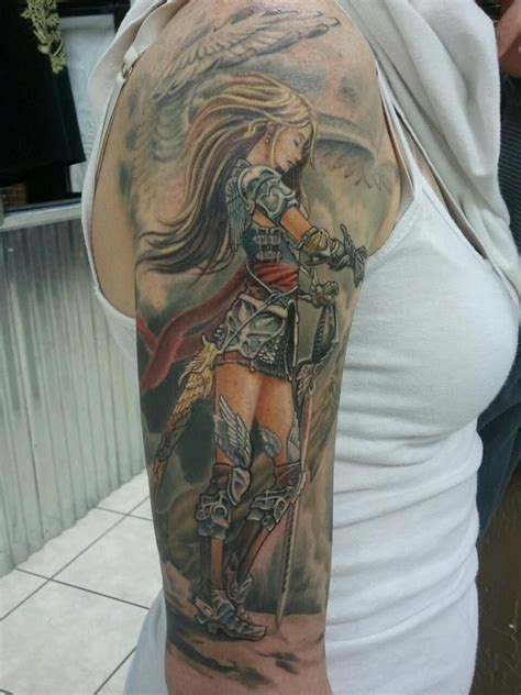 tattoo girl warrior female warrior angel tattoo by carlos rubio tattoo designs